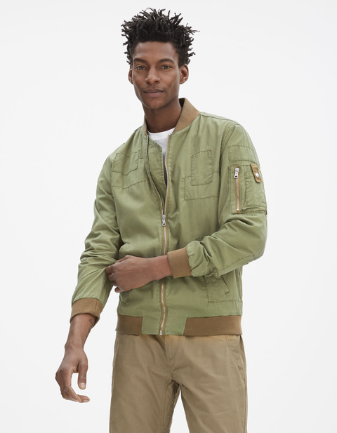 Blouson teddy à patch - GUVINTAGE_KAKI - Vue de face - Celio France