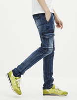 Jean slim stretch multi-poches - GOBAT_BLEU - Vue de face - Celio France