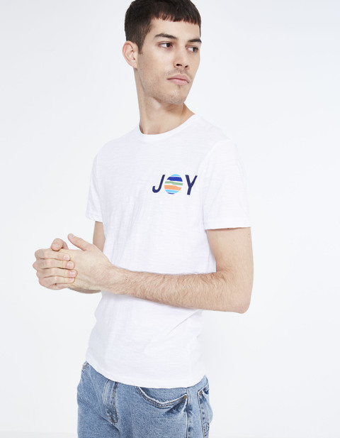 T-shirt straight 100% coton - JEBRIDGE_WHITE - Vue de face - Celio France