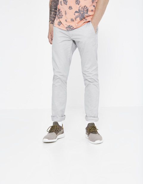 Chino slim coton stretch - DOTALIA3_LIGHTGREY - Vue de face - Celio France