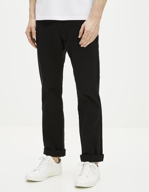 Chino straight coton stretch - DOTALIA_NOIR999 - Vue de face - Celio France