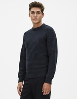 Pull côtelé coupe straight - FEHORI_NAVY - Vue de face - Celio France