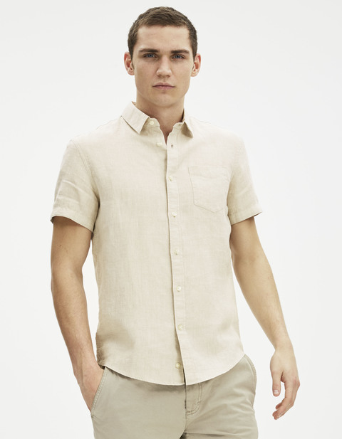 chemise regular 100% lin - DACARA_NATUREL - Vue de face - Celio France