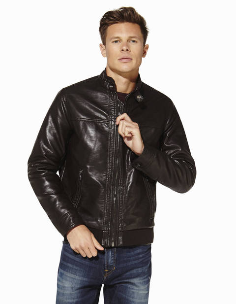 Blouson col montant - CUSAND_DARKBROWN - Vue de face - Celio France