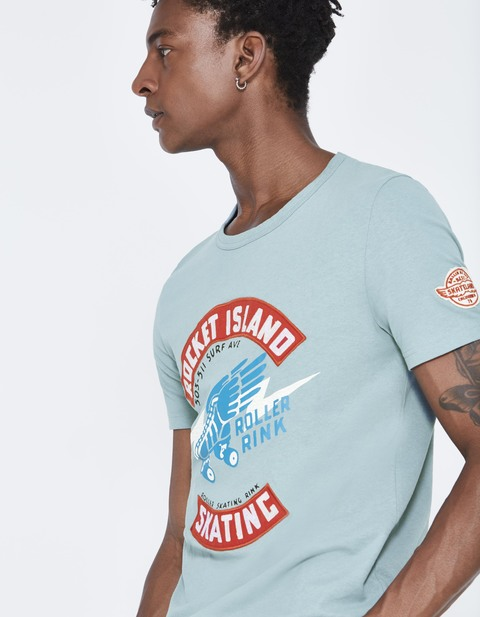 T-shirt straight 100% coton - JEGRAIN_BLEUGRIS - Vue de face - Celio France
