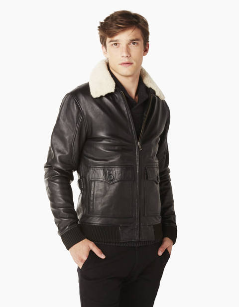 Blouson aviateur col amovible - OFILEY_NOIRMETROSTATIONB - Vue de face - Celio France