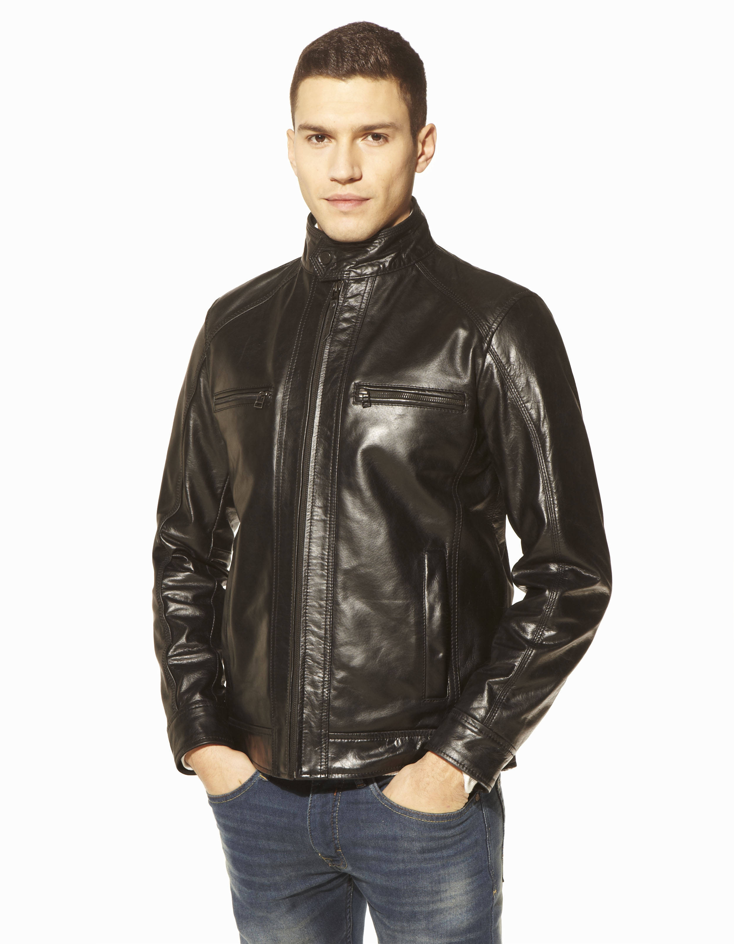 blouson esprit motard en cuir bumoto celio france. Black Bedroom Furniture Sets. Home Design Ideas