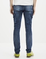 Jean slim stretch multi-poches - GOBAT_BLEU - Vue de dos - Celio France