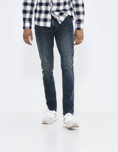 jean slim en denim souple - JOSILVER_INDIGO - Vue de face - Celio France