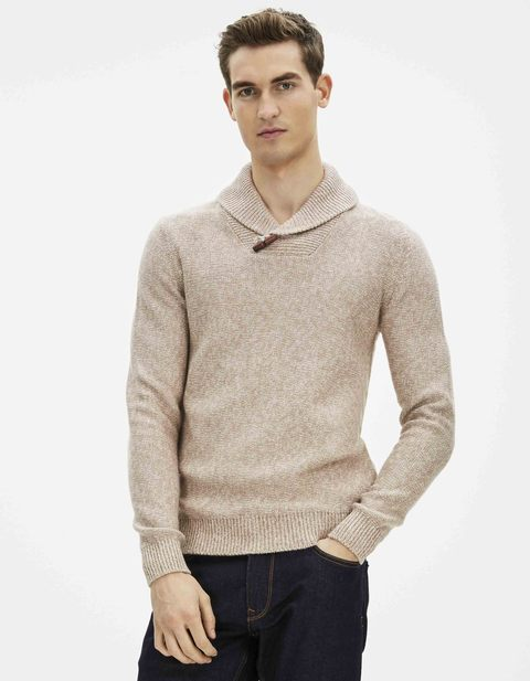 Pull col châle point fantaisie - GELINX_HEATHERBEIGE - Vue de face - Celio France