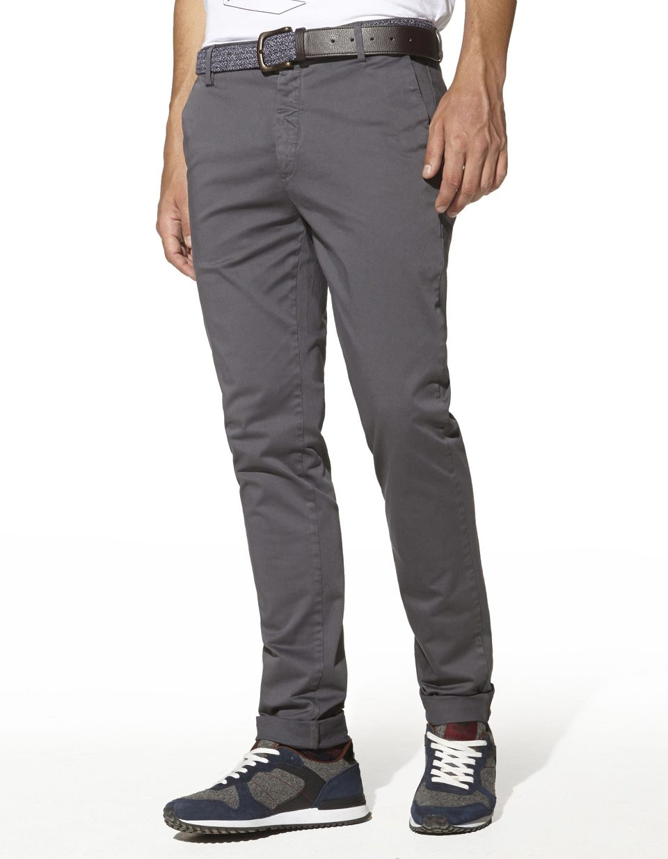 c9b34eade8e7d Pantalon chino coupe slim satin de coton stretch -  TLAKE ANTHRACITESTOCKHOLM - Vue de face - Celio ...