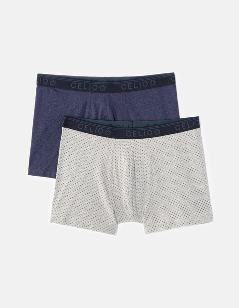 lot de 2 boxers coton stretch - CNINE2F_GRISCLAIR - Vue de face - Celio France