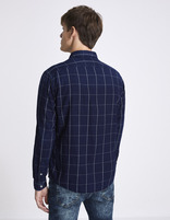 chemise regular 100% coton carreaux - NAWINDOW_INDIGO - Vue de dos - Celio France
