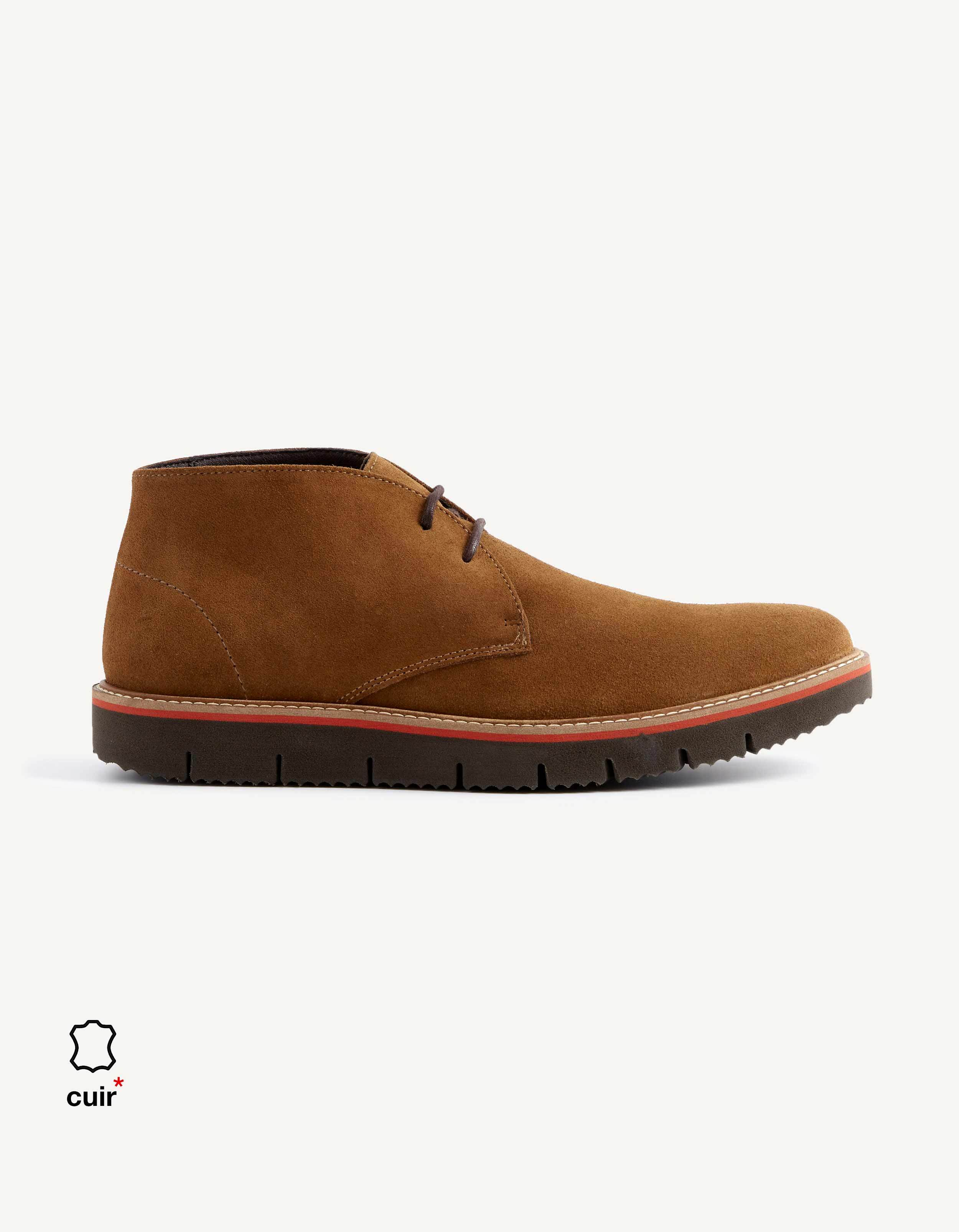 15bf96bb70 Boots semi-montante cuir - NYLAST_TAN - Image à plat - Celio France