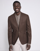 Blazer slim 100% laine uni - MULAINE_BROWN - Vue de face - Celio France