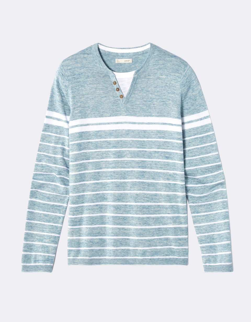 Pull col henley 100% coton à rayures - NECHILLRAY_TURQUOISE - Image à plat - Celio France