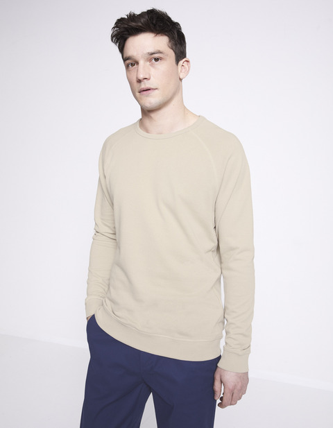 Sweat col rond 100% coton - NELIGHTY_LIGHTSAND - Vue de face - Celio France