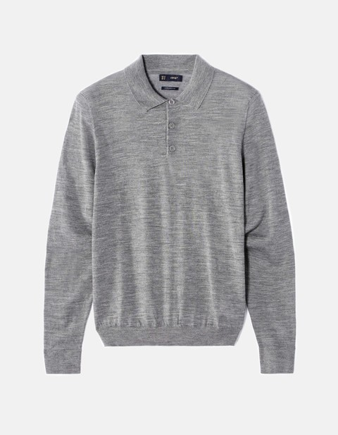 pull straight 100% laine col polo - JENEO_HEATHERGREYMID - Image à plat - Celio France