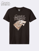 t-shirt Game of Thrones 100% coton - noir - LMESTARK_BLACK - Image à plat - Celio France