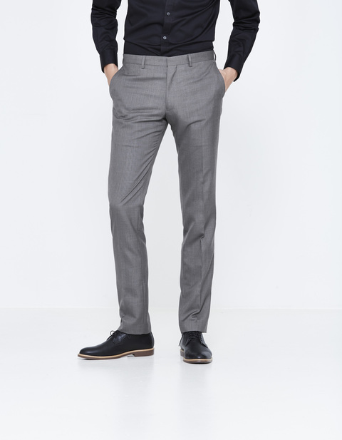 pantalon de costume slim uni - LOFAN_ANTHRACITE - Vue de face - Celio France