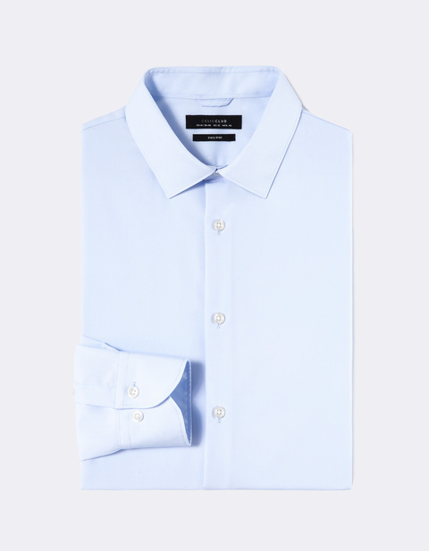 Chemise regular col semi-italien 100% coton repassage facile - NABELLEREG_LIGHTBLUE01 - Image à plat - Celio France