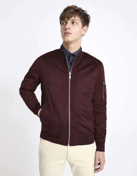 Bomber imitation daim - NUMIX_BORDEAUX - Vue de face - Celio France