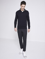 Pull col montant 100% coton - NESNAP_NAVY - Silhouette - Celio France
