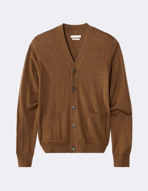 cardigan straight 100 % laine - MELVILLE_BROWN - Vue de face - Celio France