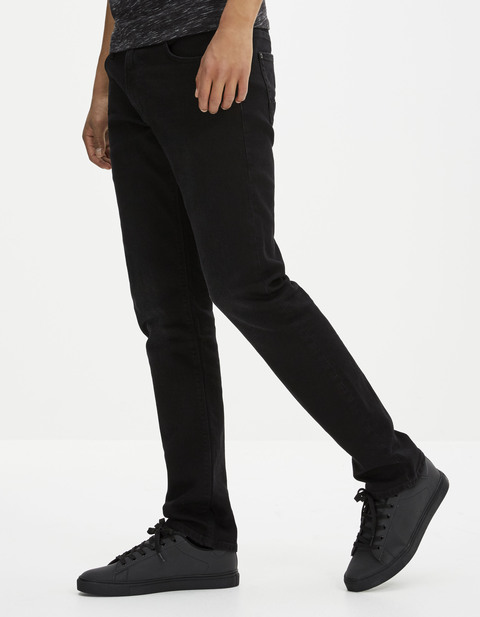 jean straight stretch 3 longueurs - FONERO15_NOIR - Vue de face - Celio France