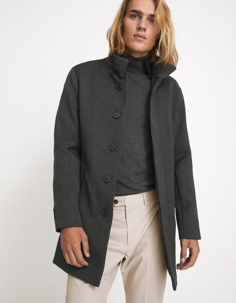 Manteau coton et laine - anthracite - MUOFFICE1_ANTHRACITE - Vue de face - Celio France