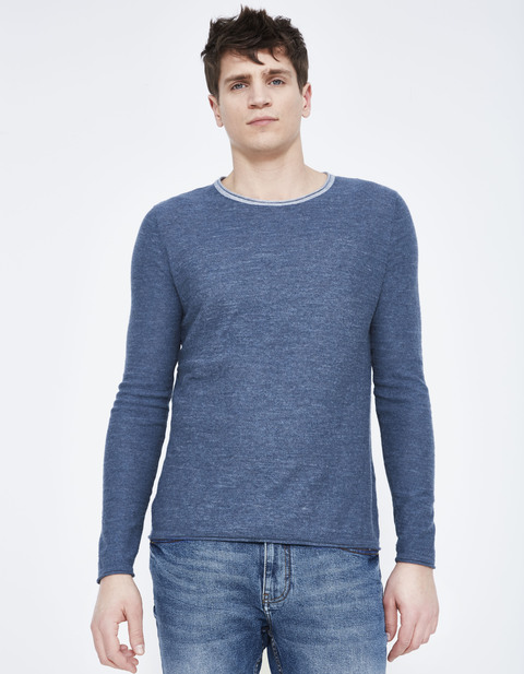 pull straight 100% coton chiné