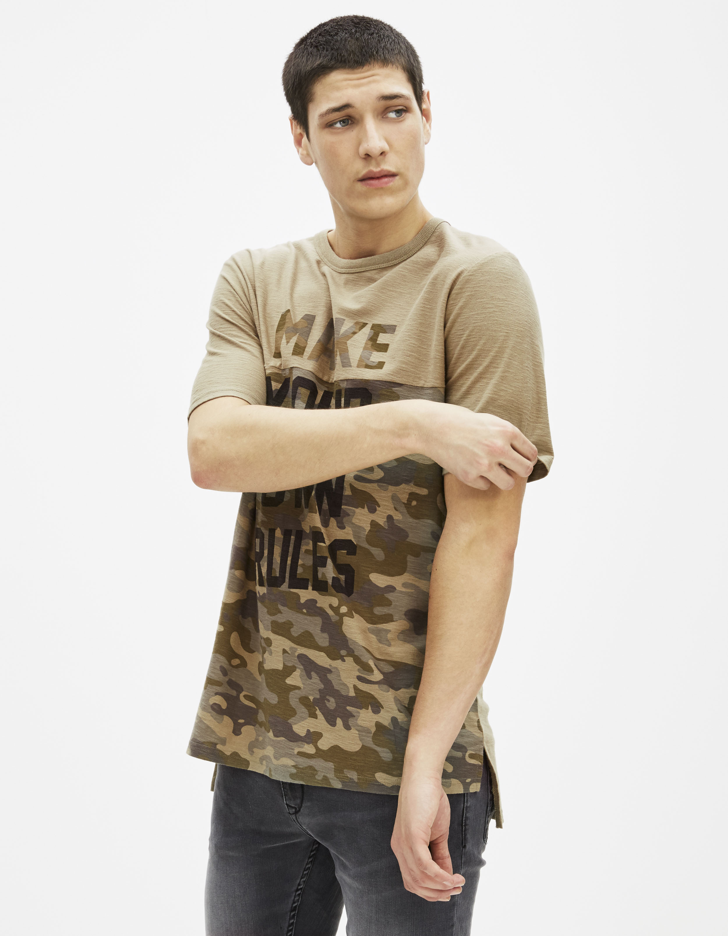 t shirt imprim camouflage ageword celio france. Black Bedroom Furniture Sets. Home Design Ideas