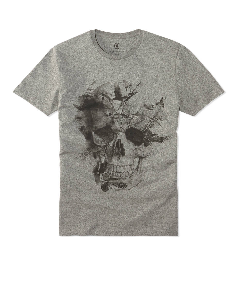 t shirt col rond print t te de mort et fleurs ateflower celio france. Black Bedroom Furniture Sets. Home Design Ideas