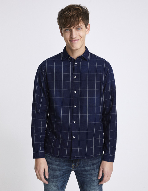 chemise regular 100% coton carreaux - NAWINDOW_INDIGO - Vue de face - Celio France