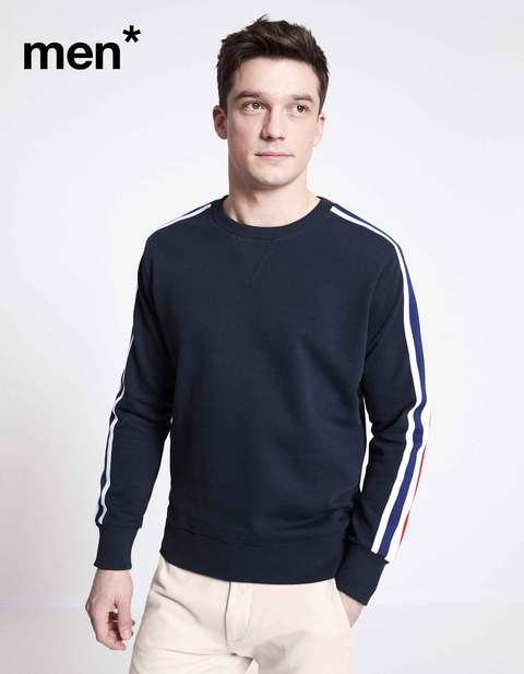 Sweat col rond manches rayées men* - ANECREW_NAVY - Vue de face - Celio France