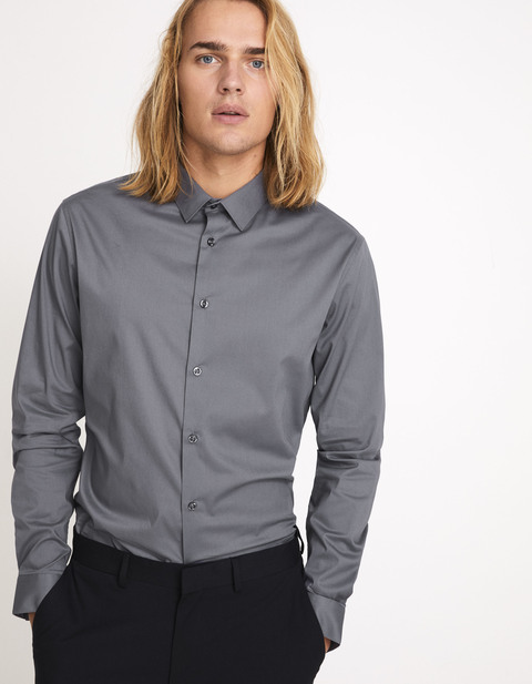 Chemise slim coton stretch - anthracite - MASANTAL1_ANTHRACITE - Vue de face - Celio France