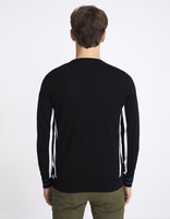 Pull col rond détail rayures sport - NEPLAY_BLACK - Vue de dos - Celio France