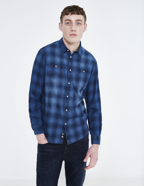 chemise regular 100 % coton - LADIG_INDIGO - Vue de face - Celio France
