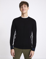 Pull col rond détail rayures sport - NEPLAY_BLACK - Vue de face - Celio France