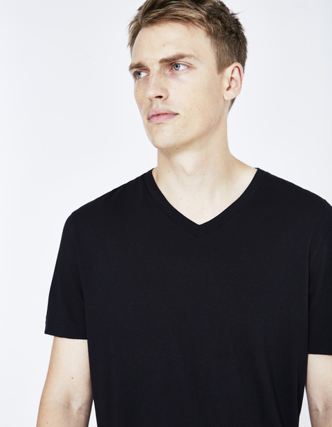 t-shirt straight en coton supima - AGEPERSEV_BLACK - Vue de face - Celio France