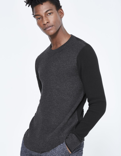 pull col rond dos t-shirt - JEWAFF_HEATHERANTHRACITE - Vue de face - Celio France
