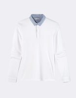Polo jersey col à rayures - NETED_OPTICALWHITE - Image à plat - Celio France