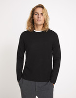 Pull straight col rond patches - MEDIA_BLACK - Vue de face - Celio France