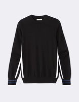 Pull col rond détail rayures sport - NEPLAY_BLACK - Image à plat - Celio France