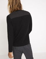 Pull straight col rond patches - MEDIA_BLACK - Vue de dos - Celio France