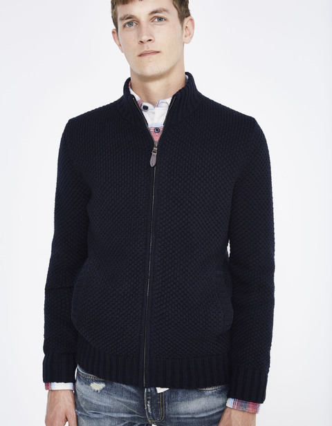 cardigan straight zippé fantaisie - JEMISTER2_NAVY - Vue de face - Celio France