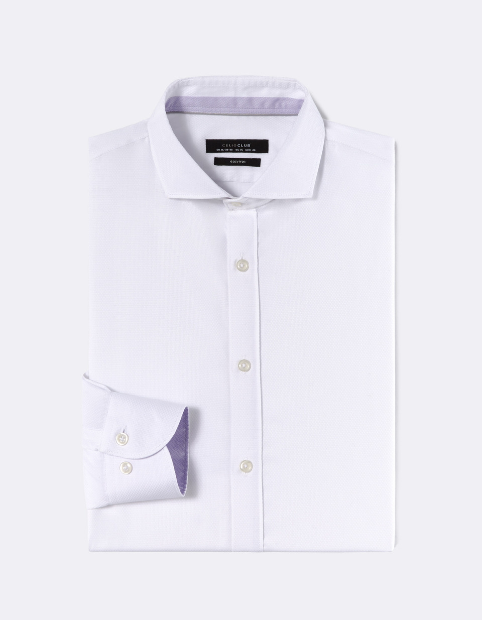 Chemise regular col cut-away 100% coton repassage facile - NATTERN_BLANC - Image à plat - Celio France