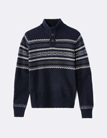 pull col montant maille jacquard - JEMICKI_NAVY - Image à plat - Celio France