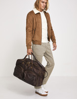 Sac week end en cuir marron - MILEATHER_BROWN - Vue de face - Celio France