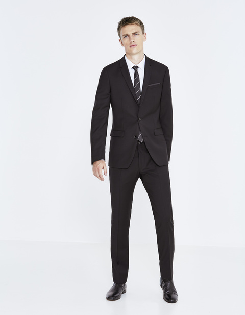 costume slim 100% laine italienne - LOOK_COSTUME_FUELBANOIR - Vue de face - Celio France